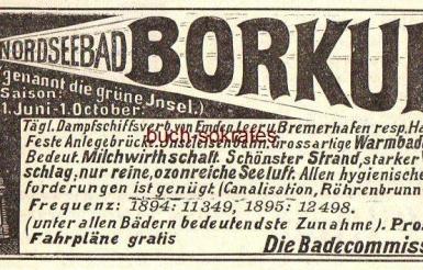 alte Borkum Werbeanzeige